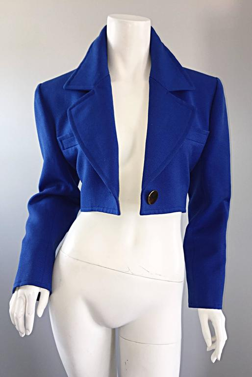 Vintage Yves Saint Laurent Rive Gauche Electric Royal Blue Cropped Bolero Jacket For Sale 2
