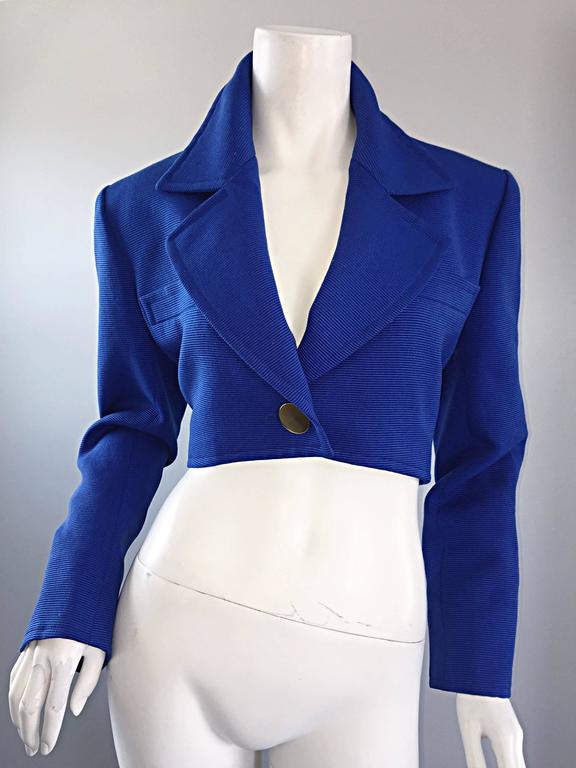 Vintage Yves Saint Laurent Rive Gauche Electric Royal Blue Cropped Bolero Jacket For Sale 4