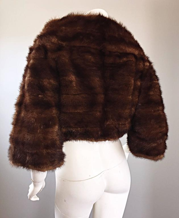 Luxurious 1950s 50s Vintage Brown Mink Cropped Chubby 3/4 Sleeve Bolero Jacket  3