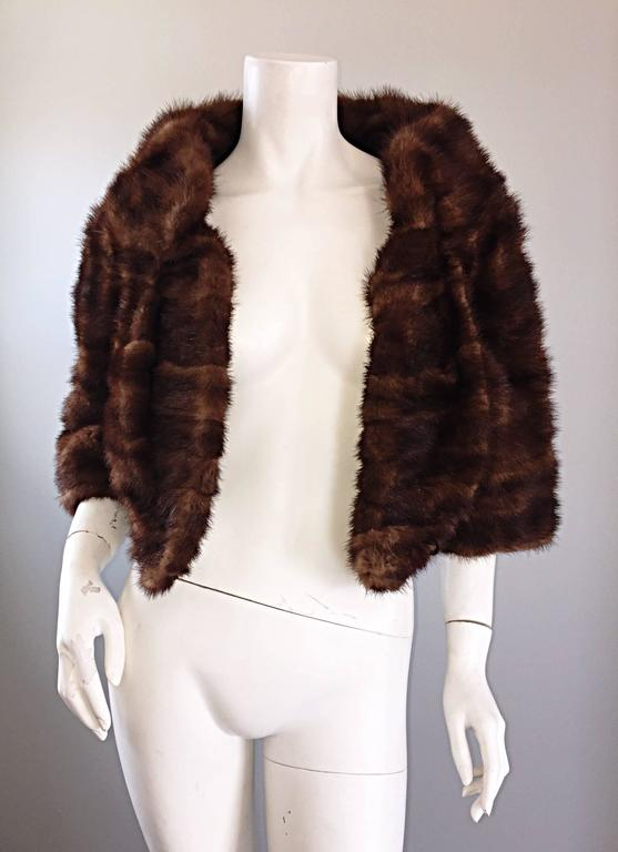 Luxurious 1950s 50s Vintage Brown Mink Cropped Chubby 3/4 Sleeve Bolero Jacket  5
