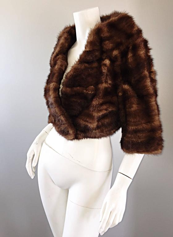Luxurious 1950s 50s Vintage Brown Mink Cropped Chubby 3/4 Sleeve Bolero Jacket  7