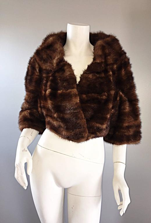 Luxurious 1950s 50s Vintage Brown Mink Cropped Chubby 3 4