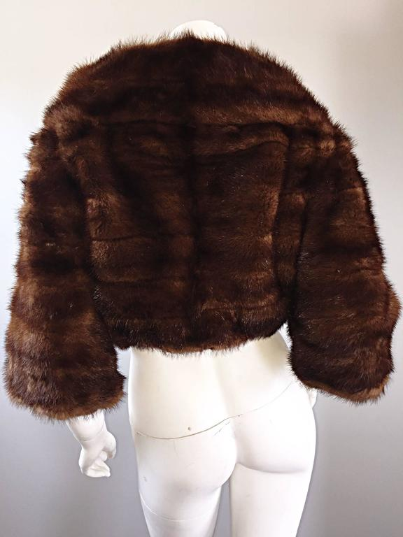 Luxurious 1950s 50s Vintage Brown Mink Cropped Chubby 3/4 Sleeve Bolero Jacket  8