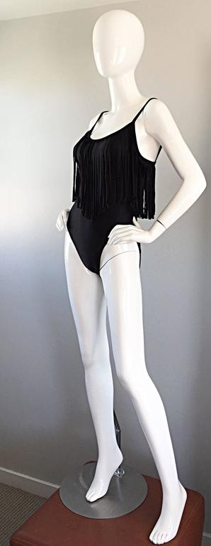 Oscar de la Renta Vintage Black Fringed One Piece Swimsuit / Bodysuit Leotard For Sale 2
