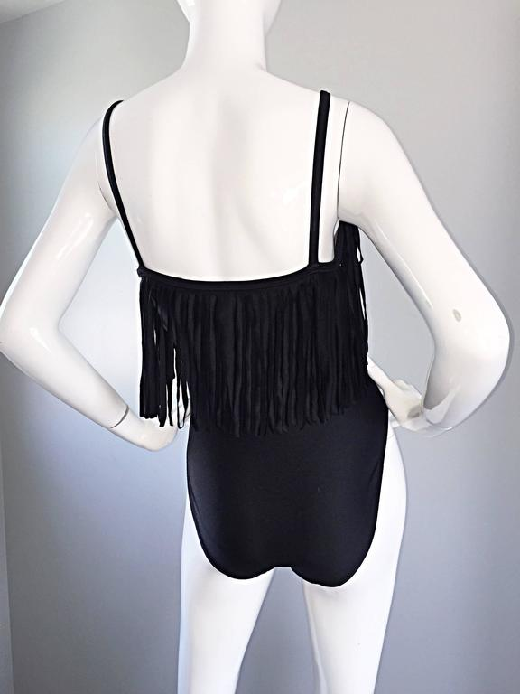 Oscar de la Renta Vintage Black Fringed One Piece Swimsuit / Bodysuit Leotard For Sale 1