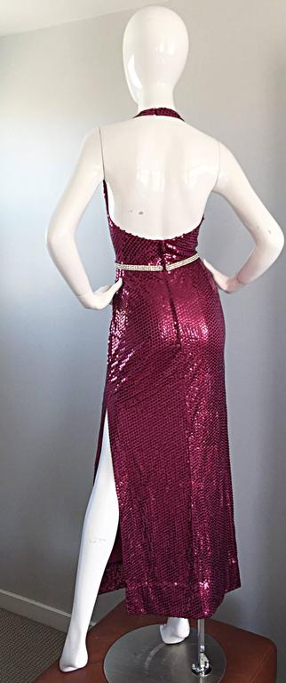1970s Lillie Rubin Raspberry Pink Silk Sequined + Rhinestone Sexy Halter Dress In Excellent Condition For Sale In Chicago, IL
