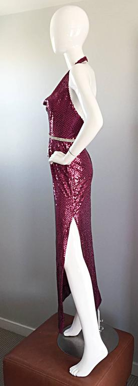 1970s Lillie Rubin Raspberry Pink Silk Sequined + Rhinestone Sexy Halter Dress For Sale 1