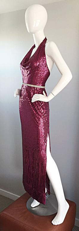 Brown 1970s Lillie Rubin Raspberry Pink Silk Sequined + Rhinestone Sexy Halter Dress For Sale