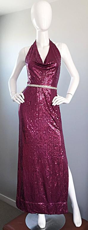 1970s Lillie Rubin Raspberry Pink Silk Sequined + Rhinestone Sexy Halter Dress For Sale 4