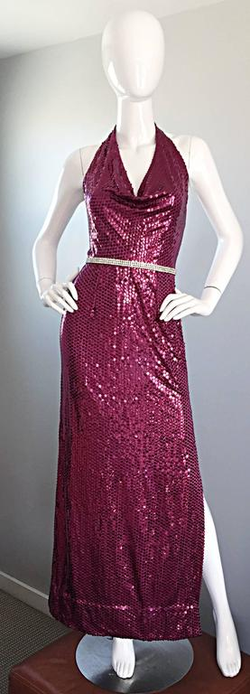 Incredibly sexy 70s vintage LILLIE RUBIN raspberry pink silk sequin disco dress! Features all over hand sewn sequins with an attached rhinestone belt at waist. High slit on the left side reveals just the right amount of leg. Super flattering body