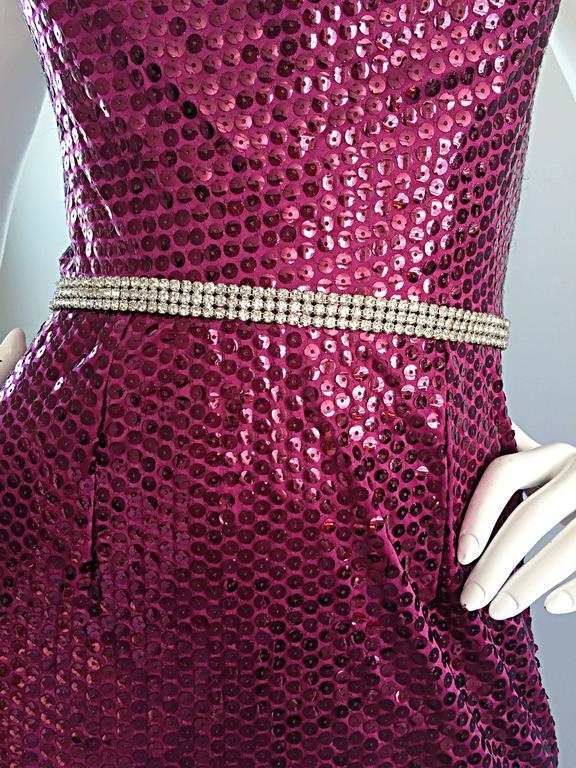 1970s Lillie Rubin Raspberry Pink Silk Sequined + Rhinestone Sexy Halter Dress For Sale 3