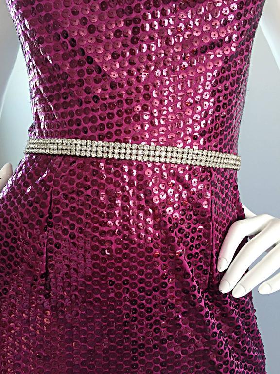 Women's 1970s Lillie Rubin Raspberry Pink Silk Sequined + Rhinestone Sexy Halter Dress For Sale