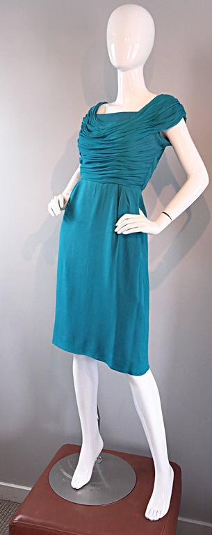 1950s Elliette Lewis Teal Blue Silk Chiffon 50s Vintage Dress w/ Pleated Bodice In Excellent Condition For Sale In Chicago, IL