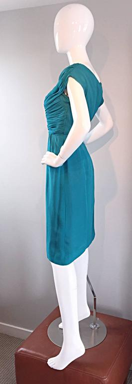 1950s Elliette Lewis Teal Blue Silk Chiffon 50s Vintage Dress w/ Pleated Bodice For Sale 1