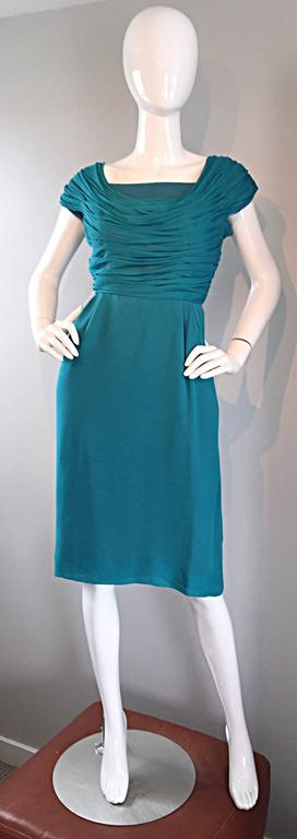 1950s Elliette Lewis Teal Blue Silk Chiffon 50s Vintage Dress w/ Pleated Bodice For Sale 5