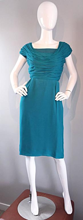 1950s Elliette Lewis Teal Blue Silk Chiffon 50s Vintage Dress w/ Pleated Bodice For Sale 3
