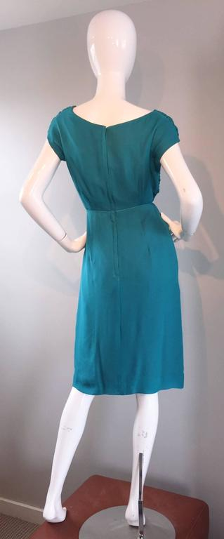 1950s Elliette Lewis Teal Blue Silk Chiffon 50s Vintage Dress w/ Pleated Bodice For Sale 4