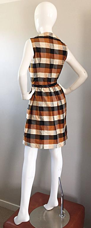 Isaac Mizrahi Vintage 1990s Does 1950s Brown & Black Plaid Silk Shirt Dress 4