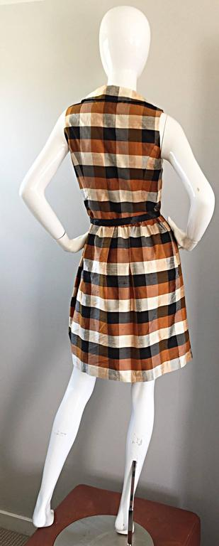 Isaac Mizrahi Vintage 1990s Does 1950s Brown & Black Plaid Silk Shirt Dress 8