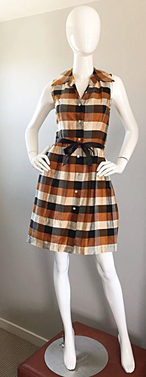 Isaac Mizrahi Vintage 1990s Does 1950s Brown & Black Plaid Silk Shirt Dress 9