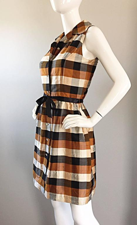 Isaac Mizrahi Vintage 1990s Does 1950s Brown & Black Plaid Silk Shirt Dress 6