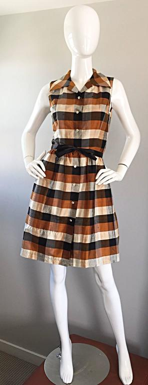 Isaac Mizrahi Vintage 1990s Does 1950s Brown & Black Plaid Silk Shirt Dress 7