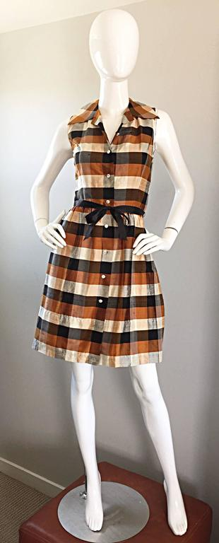 Isaac Mizrahi Vintage 1990s Does 1950s Brown & Black Plaid Silk Shirt Dress 2