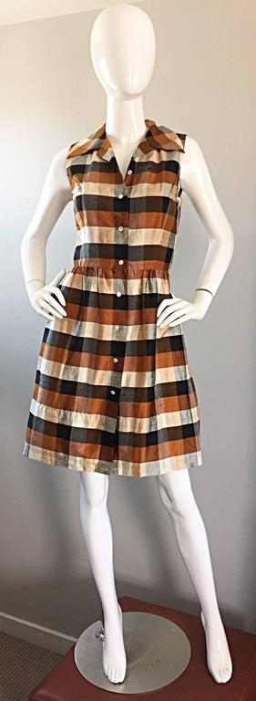 Isaac Mizrahi Vintage 1990s Does 1950s Brown & Black Plaid Silk Shirt Dress 5