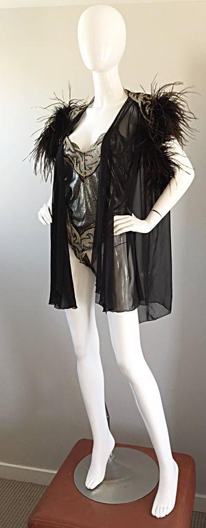 Rare Vintage Bob Mackie for Elizabeth Arden Feathered Teddy / Bodysuit Set 3
