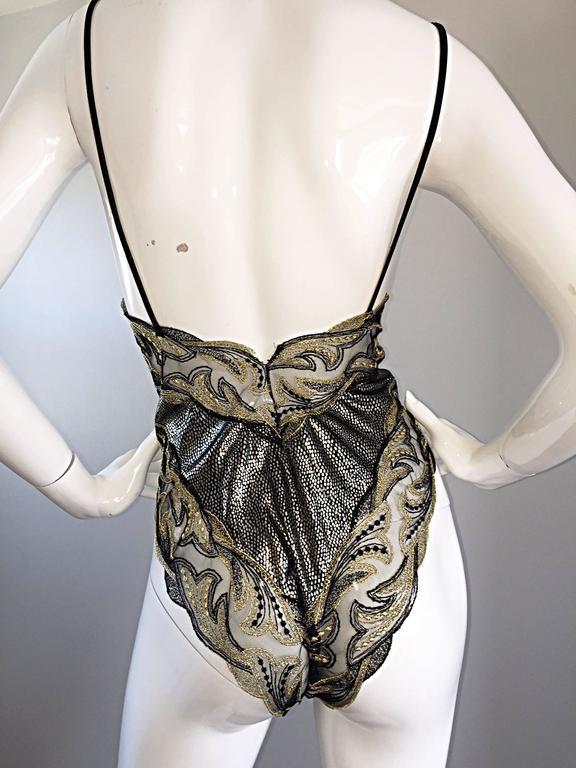 Rare Vintage Bob Mackie for Elizabeth Arden Feathered Teddy / Bodysuit Set 7