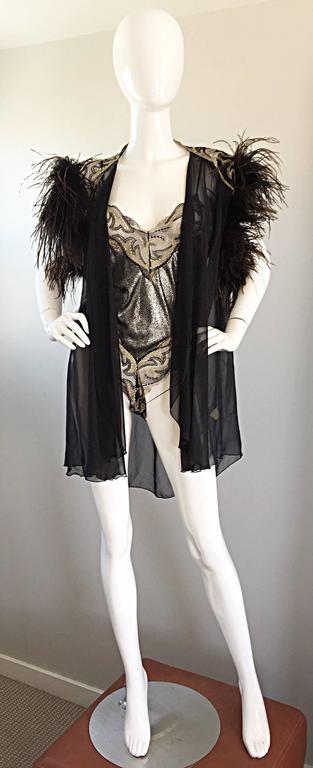 Rare Vintage Bob Mackie for Elizabeth Arden Feathered Teddy / Bodysuit Set 9