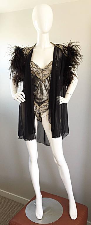 Rare Vintage Bob Mackie for Elizabeth Arden Feathered Teddy / Bodysuit Set 2