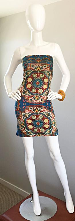Rare and super sexy vintage TODD OLDHAM 90s strapless tapestry print mini dress! Flattering body con fit that hugs the body, and flatters like no other! Amazing symmetrical tapestry print works great for day or evening. Pictured 1930s amber bakelite