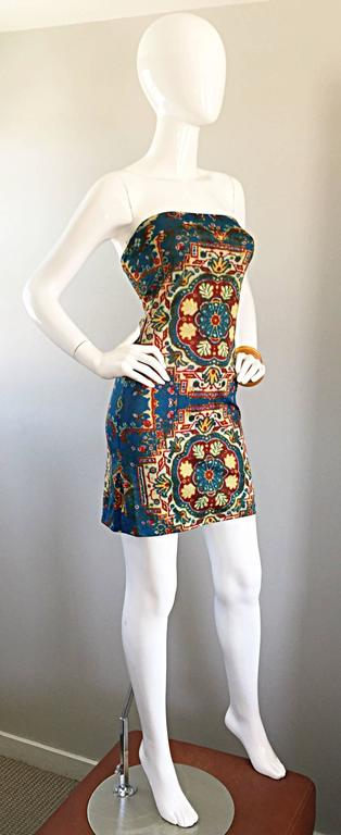 Rare Vintage Todd Oldham 1990s Bodycon Tapestry Print Strapless 90s Boho Dress For Sale 1