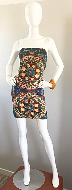 Rare Vintage Todd Oldham 1990s Bodycon Tapestry Print Strapless 90s Boho Dress For Sale 4