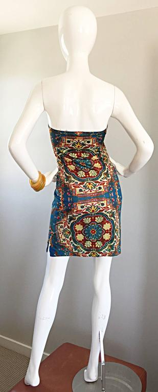 Rare Vintage Todd Oldham 1990s Bodycon Tapestry Print Strapless 90s Boho Dress In Excellent Condition For Sale In San Francisco, CA