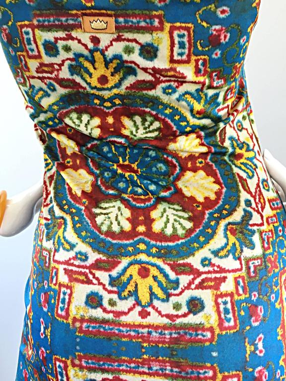Rare Vintage Todd Oldham 1990s Bodycon Tapestry Print Strapless 90s Boho Dress For Sale 2