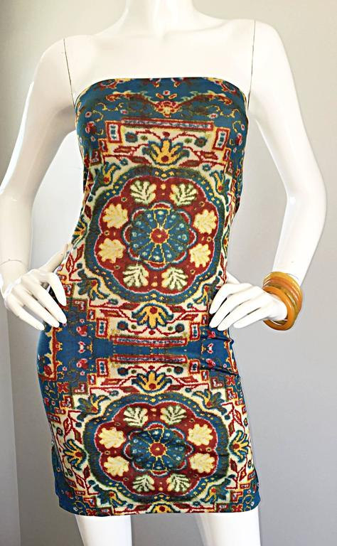 Women's Rare Vintage Todd Oldham 1990s Bodycon Tapestry Print Strapless 90s Boho Dress For Sale