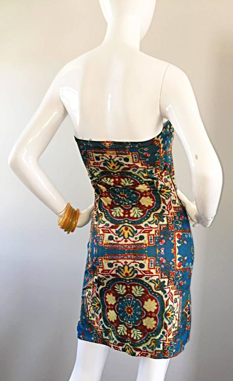 Rare Vintage Todd Oldham 1990s Bodycon Tapestry Print Strapless 90s Boho Dress For Sale 3