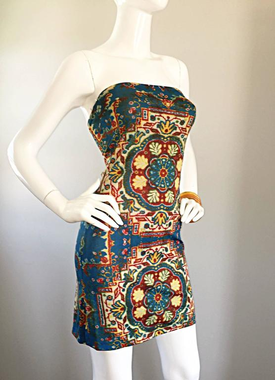 Black Rare Vintage Todd Oldham 1990s Bodycon Tapestry Print Strapless 90s Boho Dress For Sale