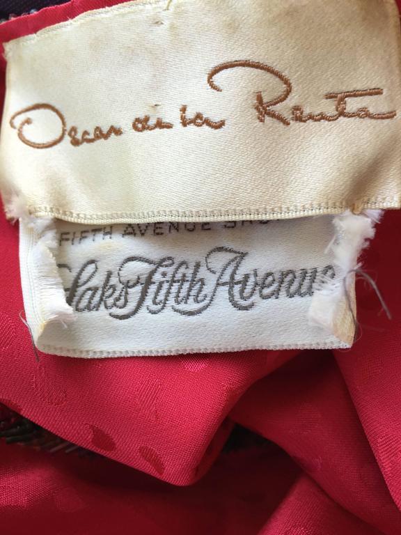 Documented Vintage Oscar de la Renta 1982 Red Silk Beaded Caftan Maxi Dress  10