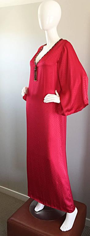 Documented Vintage Oscar de la Renta 1982 Red Silk Beaded Caftan Maxi Dress  6