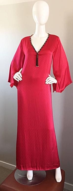 Documented Vintage Oscar de la Renta 1982 Red Silk Beaded Caftan Maxi Dress  9