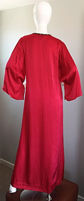 Documented Vintage Oscar de la Renta 1982 Red Silk Beaded Caftan Maxi Dress  5