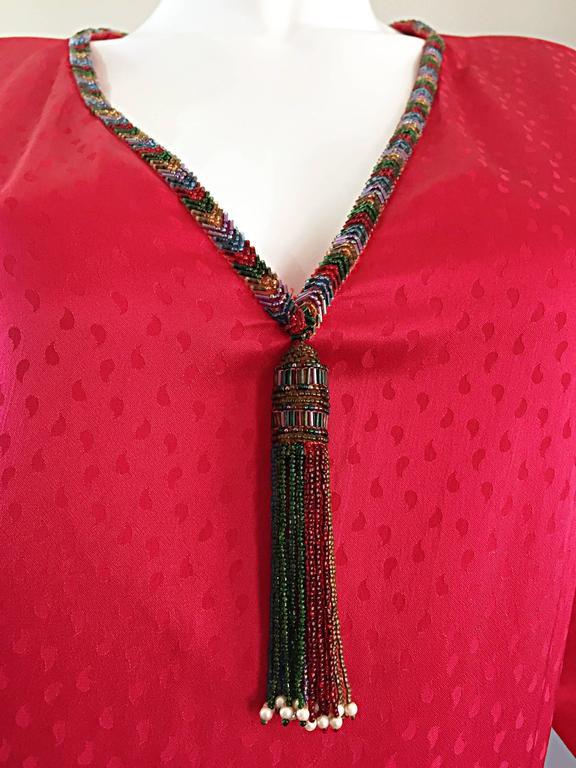 Documented Vintage Oscar de la Renta 1982 Red Silk Beaded Caftan Maxi Dress  4