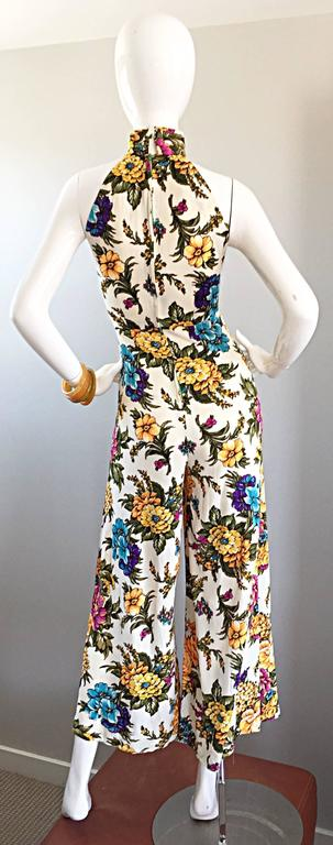 Amazing 1970s Wide Leg High Neck Flower Vintage 70s Cropped Jumpsuit Onesie 7