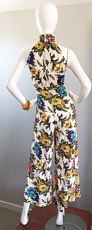 Amazing 1970s Wide Leg High Neck Flower Vintage 70s Cropped Jumpsuit Onesie 4