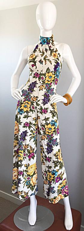 Amazing 1970s Wide Leg High Neck Flower Vintage 70s Cropped Jumpsuit Onesie 8