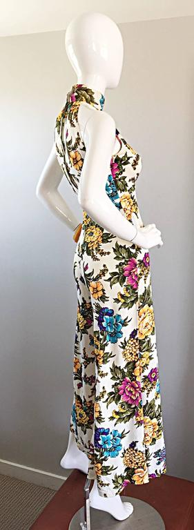 Amazing 1970s Wide Leg High Neck Flower Vintage 70s Cropped Jumpsuit Onesie 6