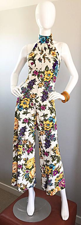 Amazing 1970s Wide Leg High Neck Flower Vintage 70s Cropped Jumpsuit Onesie 2